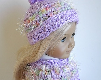 "18"" Doll Clothes Crocheted Poncho Set in Lavender with Pastel Eyelash Trim handmade to fit American Girl and other 18"" Dolls"