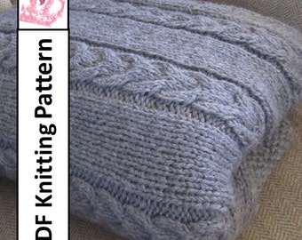 "PDF KNITTING PATTERN, Blanket knitting pattern, 60""x72"", Double Cable throw/afghan/blanket knitting pattern"