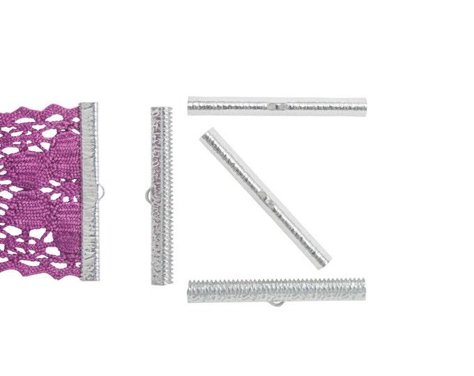 16 pieces  50mm  (2 inch) Platinum Silver Ribbon Clamp End Crimps - Artisan Series