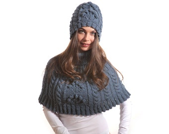 Hand Knit Hat and Knit Cape with Turtleneck Set, Blue Hat Blue Cape Aran Cabled by Solandia, winter women fashion, Gift for her