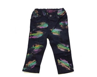 Girls Painted Jeans, Girls Skinny Jeans, Girls Rainbow Jeans, Hand Painted Jeans, Girls Denim, Girls Jeans, Painted Denim, Baby Skinny Jeans