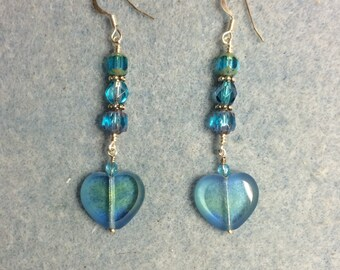 Turquoise and green Czech glass heart bead earrings adorned with turquoise Czech glass beads.