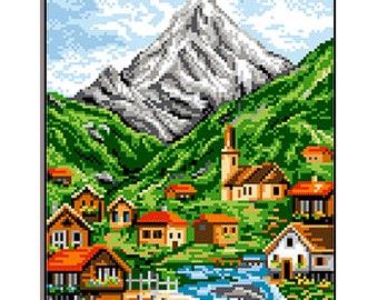 Cross Stitch Printed Kit Mountain