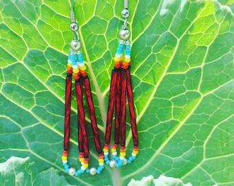 Native American Beaded Double Loop Earrings