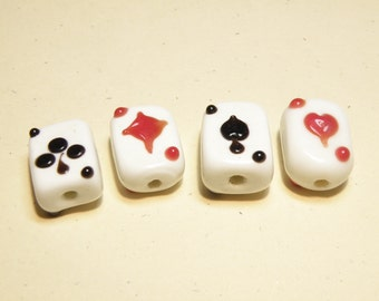 Set of Four Playing Cards Lampwork Beads -- Lot UU