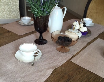 Brown Pure Linen Table Runners Handmade, Aisle Runner, Table Runners, Wedding Runner, Table Runners for Wedding, Gift Ideas