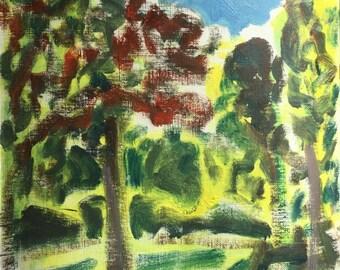 Des Sommers Leuchten, Original Öl auf festem Papier Garten Landschaft Gemälde von Shirley Kanyon, 8.7x8.3 Zoll, 22 x 21 cm, 2017