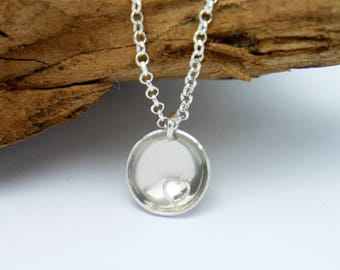 Sterling silver minimalist necklace with heart