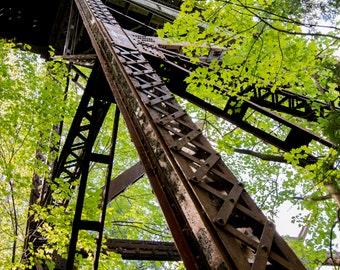 Upwards bridge viewpoint, Agate Falls, Michigan