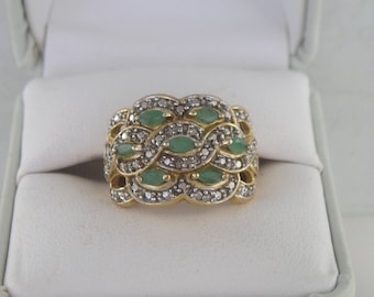 Lovely Ross Simons Gold over Sterling Emerald & Diamond Accent Ring Size 6