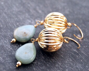 dulcet... gold amazonite drop earrings / 14k gold filled corrugated ball & amazonite teardrop earrings
