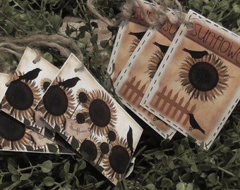 Primitive Crows & Sunflower Hang Tags (Set of 6) FREE SHIPPING