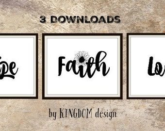 Faith hope love, wall decor, Printable, art sign, Black and white 8x10  Christian art Bible scripture print, digital print