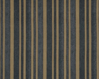 Blue and Tan Stripes Ticking - Half Yard Tim Holtz Fabric Eclectic Elements Striped Old Fashioned Vintage Looking Quilt Fabric PWTH006BLUEX