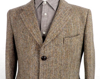 Tan and Dark Brown Herringbone Harris Tweed Jacket by Gurtex Made in England  Size L To Fit 40 - 42 inch Chest Classic Traditional 1960s