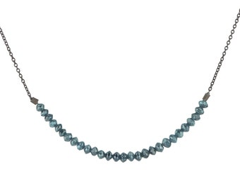 Blue Faceted Diamond Bead Bar Necklace on Blackened Silver Chain 6 cm Length