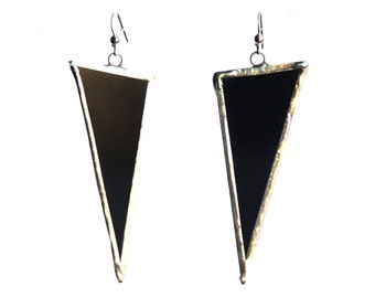 Black Triangle Earrings, Statement Earrings, Black Glass Earrings, Modern Earrings, Dangling Earrings, Geometric Earrings