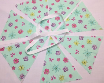 Mint Floral Bunting Making Kit will make 5 metres with 19 x 8 inch flags & cotton tape, ideal for weddings, bridal baby showers parties