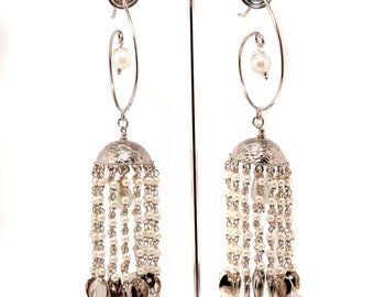 Pearl JHUMKAS,Large SILVER Jhumka,Pearl jewelry,Ethnic,Dome earring,Bridal Jewelry,Silver Jhumki,Indian Jewelry,Wedding  Earrings by Taneesi