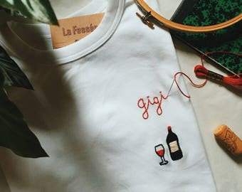 Embroidered T-shirt handmade custom (phrase + motif or pattern only)