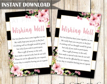 Wedding Wishing Well Card, Floral Wedding Wishing Cards, Add Your Text to Wishing Well, Blush Pink Black Gold Wishing Well INSTANT DOWNLOAD
