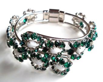 Green Rhinestone Clamper Bracelet, White Milk Glass Cabochons, Hinged Vintage