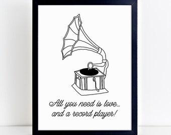 Printable Gramophone, Record Player Vintage Art Print - PDF