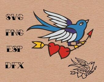 Old school Tattoo  Swallow Hearts arrow , SVG,vector,clipart,
