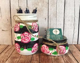 Stripes and Floral Mason Jars, office decor, Set of 2 Mason jars, business card holder, pen holder, Shabby Chic decor, Rustic Home decor