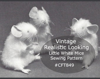 White Mouse Sewing Pattern Christmas Mouse Realistic Mouse Sewing Pattern Fur White Mice Pattern #CFT849-PDF  -Available Mailed- DurhamDeals