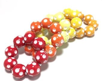 Toddler or Girls Polka dot Chunky bracelets - Dot Bracelet - Red, Orange, Yellow, Lemon, Mustard Bracelet - Toddler Bracelet - Kid Bracelets
