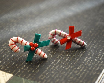 Candy Cane Earrings -- Candy Cane Studs, Christmas Earrings, You choose the color!