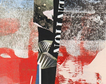 Invention - Collage with Hand Painted Papers 8 x 8 on 14 x 11 Backing