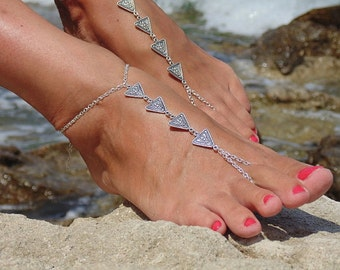 Barefoot sandals triangle anklet bracelet foot Beach shoes Boho gypsy style Belly Dancing footwear Soleless Sandals Toe Thongs