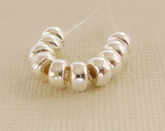 Sterling Silver Bead,  5mm Rondel Spacer, 10 Beads 925 high polish jewelry supplies