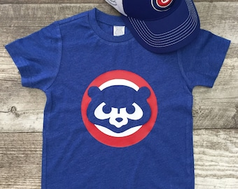 Mens Unisex Chicago Cubs Cubbies Bear Baseball T Short Sleeve T Shirt Blue Red modern graphic trendy Tee Infant Toddler Kid TSLM