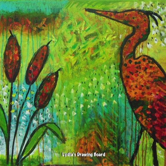 Serendipity, Blue Heron, Blue Heron Art, Cattails, Nature Art, Nature Artwork, Bird Art, Bird Artwork, Bird Art Print, Impressionist Art