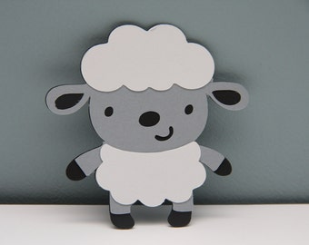 Black, Gray and White Sheep Die Cut-Set of 8