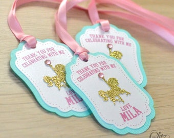 12 Carousel Favor tags, PERSONALIZED, Thank you tags, Merry go around, Birthday decorations