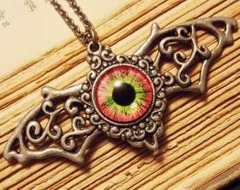 Pink and Silver Batwing Eyeball Necklace