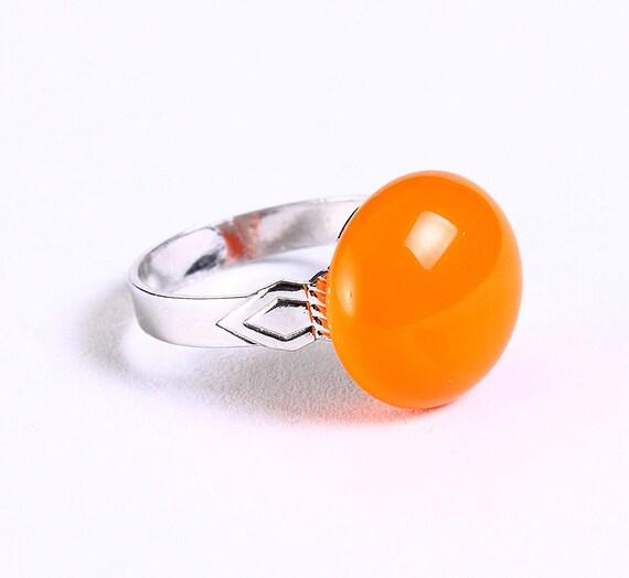 Petite cocktail ring orange glass adjustable silver ring OOAK (678)