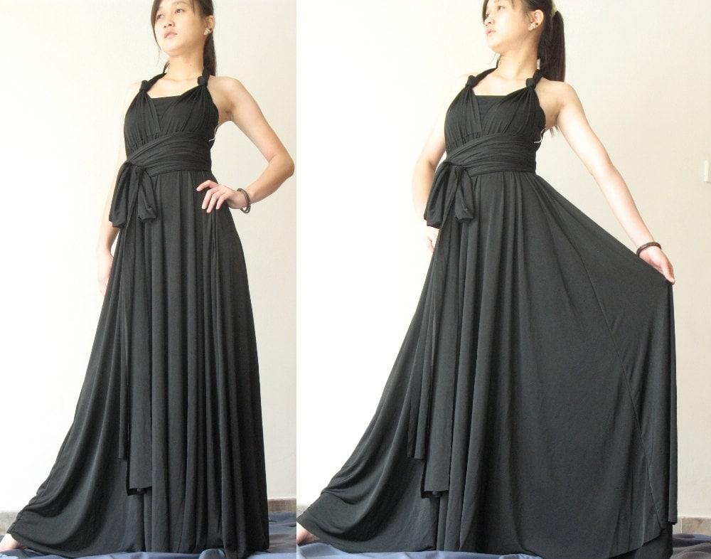 Convertible Wrap Dress Black Infinity Dress Long Maxi Dress