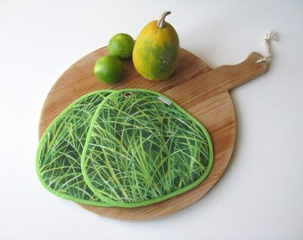 green grass pair of potholders - fun potholders - farm country kitchen - green grass - hot pads