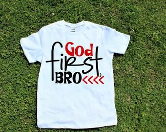 Kids Christian Shirt, God First Bro, toddler christian shirt, jesus shirt, christian kids tee, toddler shirt, jesus tee for kids