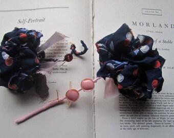 Fabric Wedding Flowers * Vintage Fabric Poms * Lapels * Wands * OOAK bouquets * Small Weddings * Celebration Gatherings * Navy Blue *