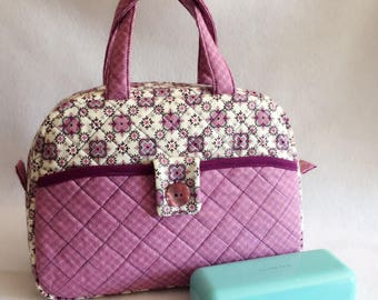 15% off, easter sale! Beautiful Quilted Handbag, Little Girl Bag, Purple Floral Quilted Bag
