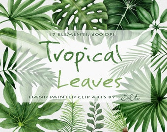 Watercolor Tropical Leaves Clipart Palm Leaf Greenery Clip Art Illustration Vector Wedding Invitation Paper Decoration Green Leaves Beach