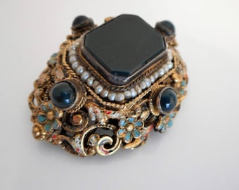 Antique Austro Hungarian Enamel Brooch. Victorian Renaissance Revival Silver Gold Gilt Bloodstone Chalcedony Pearl Brooch. Budapest Jewelry