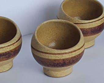 Asian Clay Pottery Tea Cups Planters Asymmetrical Shape set of 4