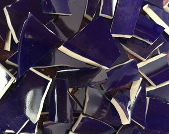 100 Solid Mix of Colors Fillers  Mosaic Tiles Broken Plate Pieces Art Tesserae Glossy Cobalt Blue Mix